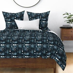 Bauhaus Astronomy Galaxy Solar System Abstract Sateen Duvet Cover by Roostery