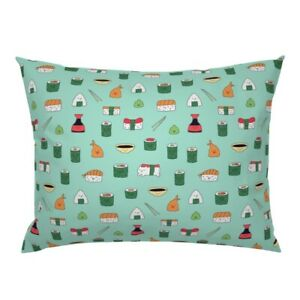 Kawaii Sushi Japan Food Cat Cute Asian Pillow Sham by Roostery