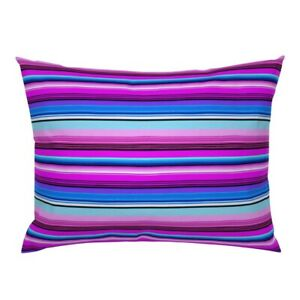 Mexican Stripes Pink Blue Latin America Colorful Pillow Sham by Roostery