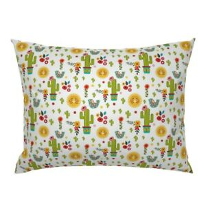 Flowers Floral Mexican Cactus Boho Baby Girl Pillow Sham by Roostery