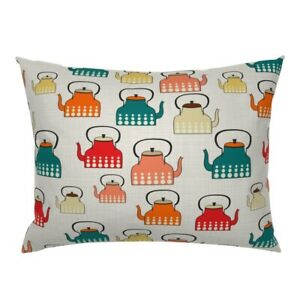 Teapots Kitchen Retro Modern Pattern Food Cute Pillow Sham by Roostery