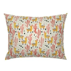 Pink Mexican Child Nursery Girly Alpaca Kid Pillow Sham by Roostery