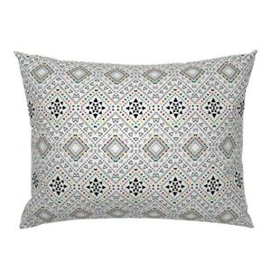 White Geometric Tribal Triangle Boho Mexican Pillow Sham by Roostery