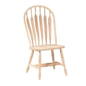 Dining Chair Arrow Back Windsor Unfinished Wood Steam Bent Kitchen Furniture