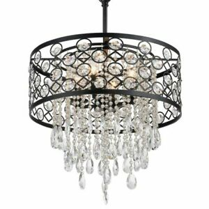 Circular Drum Chandelier Crystal Light Fixture Ceiling Pendant Glam Lighting 17