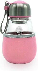 Glass Travel Tumbler with tea infuser + removable sleeve, 16oz/180ml Pink