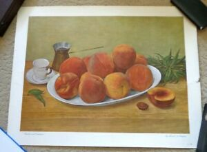 Manuel Tolegian Poster Lithograph PEACHES AND DEMITASSE 1966 Signed Numbered 176 $80.97