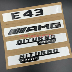 Gloss Black  E43 AMG BITURBO  Trunk Embl Badge Sticker for Mercedes Benz E43