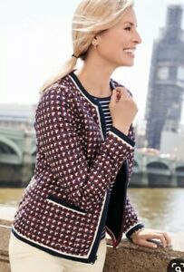 $179 NWT TALBOTS GEO PRINT DIAMOND QUILTED REVERSIBLE LIGHTWEIGHT JACKET SIZE M $49.00