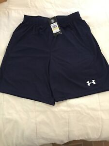 Mens Under Armour Size Medium Pull On Navy Heat Gear Athletic Shorts NWTS $14.00
