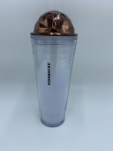 Starbucks Venti Cold Cup Tumbler Copper Dome Chiseled Lid Prism 2012 24 fl oz