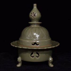 China Song Dynasty Yue Kiln Old Porcelain Pottery Glaze incense burner QXZS