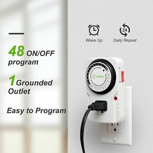 Heavy Duty 24-Hour Plug-in Mechanical Outlet Timer Grounded Electrical Appliance