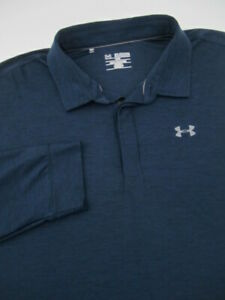 Mens 3XL Under Armour Playoff Polo navy blue long sleeve shirt $37.00
