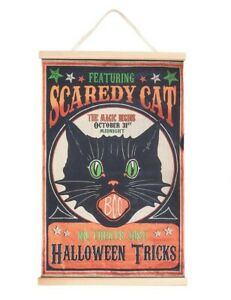 Victorian Trading Co Scaredy Cat Black Cat Halloween Tricks Greetings Banner