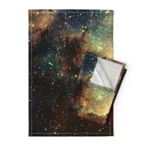 Candy Carina Nebula Galaxy Stars Linen Cotton Tea Towels by Roostery Set of 2