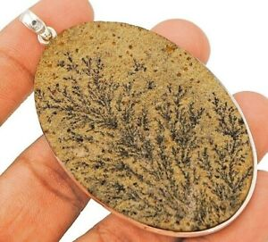 NaturalPsilomelane Dendrite German 925 Sterling Silver Pendant Jewelry CD27-8