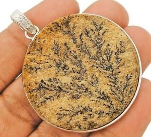 Natural Psilomelane Dendrite German 925 Sterling Silver Pendant Jewelry CD27-1