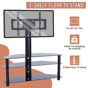 3-Tier Aluminum Floor TV Stand w/ 45° Rotation for 32
