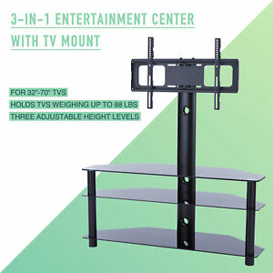 Rotating TV Stand Mount 3-Tier Cabinet & Adjustable Height for 32