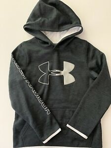 Under Armour Boys Hoodie Size Small Large 8 14 Logo ColdGear Charcoal Grey White $19.95