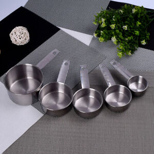 5pcs Stainless Steel Measuring Cups Spoons Kitchen Baking Cooking Tools Set #US