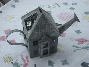 Super Rare Metal Watering Can House Candle Holder w/ Removable Lid Vented Rare