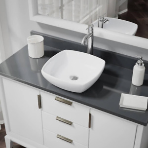 Porcelain Vessel Sink In White With 7001 Faucet And Pop-Up Drain In Chrome  $272.99