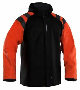 Grundens Balder 302 Orange and Black Hooded Commercial Fishing Rain Jacket Coat