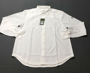 Under Armour Heat Gear Loose Button Down Shirt Polo L, White NWT MSRP $70 $45.96