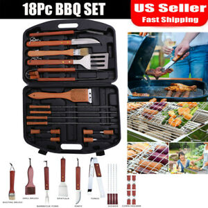 18PC BBQ Set Stainless Steel Grill Tools Barbecue Grilling Accessories with Case