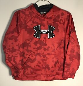 Under Armour Boys Storm Fleece Big Logo Camo Hoodie Sweatshirt Red YOUTH XL $17.99