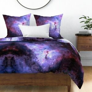 Carina Nebula Purple Galaxy Sky Cosmos Star Stars Sateen Duvet Cover by Roostery