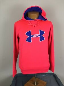 Under Armour Cold Gear Pullover Hoodie Hot Pink Blue Logo Women's Size Small $9.99