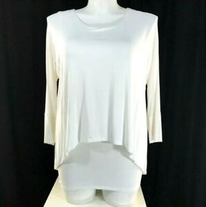 Dressbarn Top Med White Fitted Under Loose Over Shirt Stretch Flowy Trendy $32.49