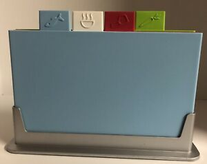 Joseph Joseph Index Color Coded Plastic Cutting Board Set With Stand/Holder.