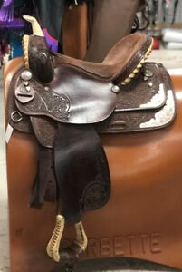 """Guffey Barrel Saddle 15"""" Reg Tree Tooled wSilver Pre-Owned –Very Good Condition"""
