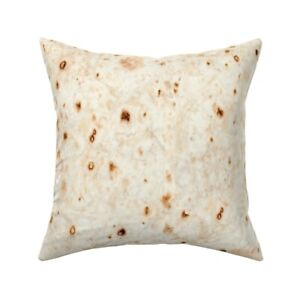 Tortilla Burrito Food Mexican Throw Pillow Cover w Optional Insert by Roostery