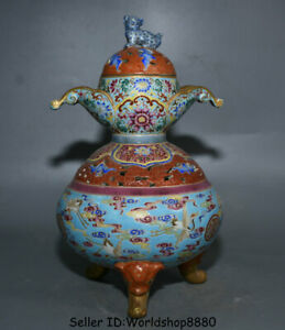 12 Qianlong Marked China Colour Enamels Porcelain Crane Birds Incense Burner