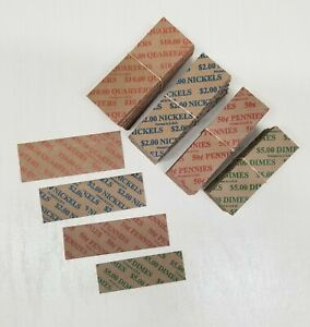 120 Coin Wrappers Flat Tubular ASSORTED Paper for Quarters Pennies Nickels Dimes