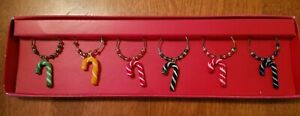 Pier 1 Imports Wine Glass Drink Charms Holiday Christmas Candy Canes Set of 6