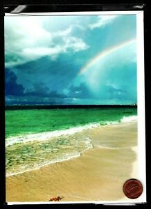 Beach Rainbow Ocean Waves Sand Clouds Large Blank Note Greeting Card New $2.99