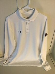 Men's Under Armour Long Sleeve Polo Loose Fit Shirt White Sz L Kent State Logo $10.00