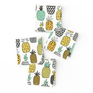 Cocktail Napkins Geometric Fruit Food Summer Hawaii Pineapples Set of 4