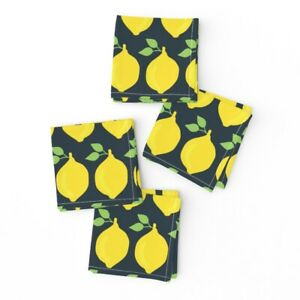 Cocktail Napkins Food Lemons Yellow Healthy Fruit Vitamins Farmers Set of 4