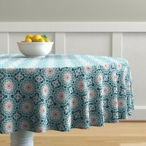 Round Tablecloth Mandala Abstract Kaleidoscope Boho Floral Spring Cotton Sateen