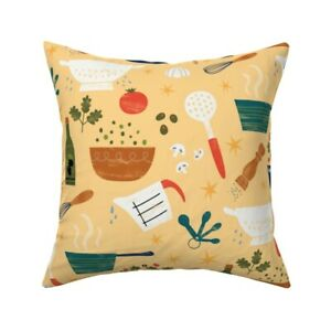 Cooking Kitchen Food Vegetables Throw Pillow Cover w Optional Insert by Roostery