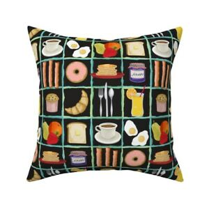 Food Whimsical Breakfast Throw Pillow Cover w Optional Insert by Roostery