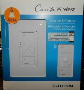 Lutron Caseta Wireless Lighting Dimmer Switch With Remote (P-PKG1W-WH-R) New!