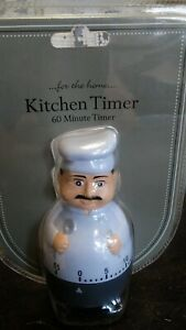 Chef Themed 60 Minute Long Ring Chime Mechanical Kitchen Cooking Timer Reminder*